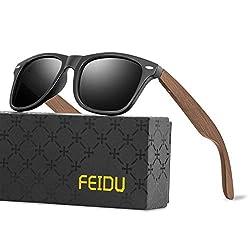 FEIDU Retro Polarisierte Damen Sonnenbrille- Herren Sonnenbrille Outdoor UV400 Brille,Farblinse, Strandreisen unerlässlich für Fahren Angeln Reisen FD 0628 (BW-Matte schwarz-Klassischer, 60)