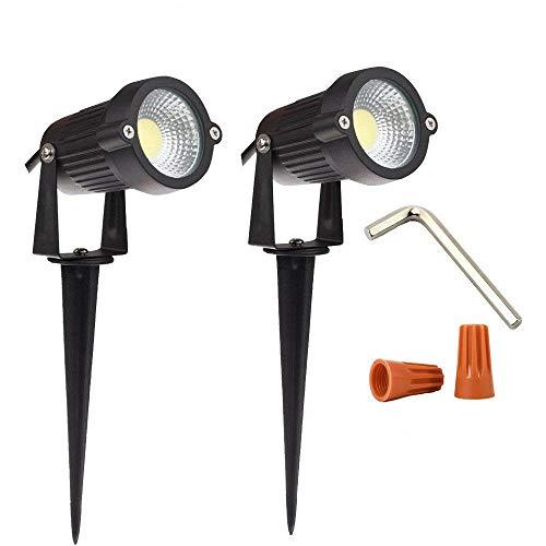Youngine 12V Lámparas de luz LED de jardín al Aire Libre Foco de Paisaje 5W COB Jardín Patio Patio de Pared Iluminación Decorativa con Soporte claveteado, Paquete de 2 (Blanco frío)