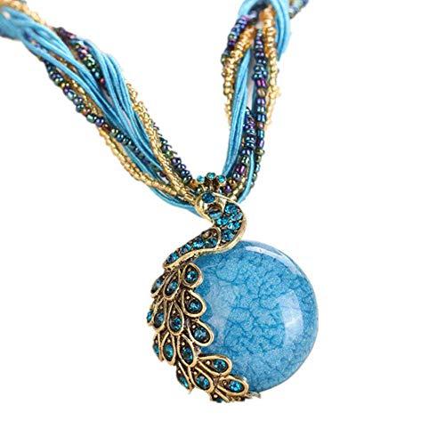 Offerte Donna Bohemian Jewelry Strass Gemma Collare Dichiarazione Collane Liquidazione (Blu)