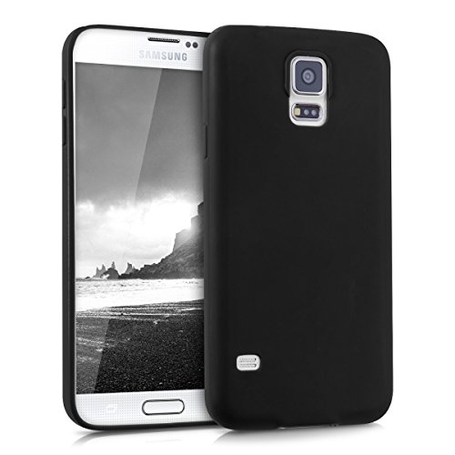 kwmobile Cover compatibile con Samsung Galaxy S5 / S5 Neo - Custodia in silicone TPU - Backcover protezione posteriore- nero matt