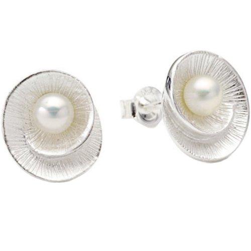 Vinani Ohrstecker Muschel mit Perle Sterling Silber 925 Ohrringe OMW