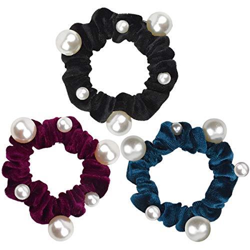 3 Stück Haargummi Scrunchy Elastisches Gummibänder Scrunchies mit Perlen aus Korallenvlies Damen Mädchen Haaschmuck, Schwarz & Weinrot & See blau
