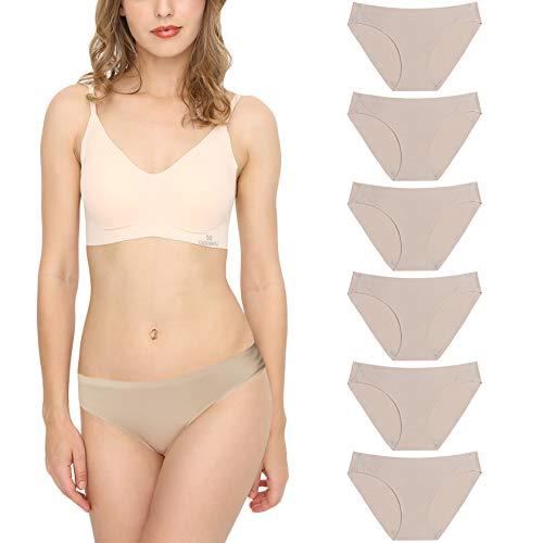 Bragas Mujer sin Costuras Invisible Señoras Braguitas Low Rise Suave Ligera Bikini Braguitas, Pack de 6 Beige M