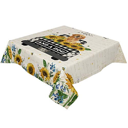 Yun Nist Tablecloths for Rectangle Table Farm Sunflower Truck with Dog, Cotton Linen Fabric Table Cover Tabletop Cloth for Dining Room Kitchen, Old Letters