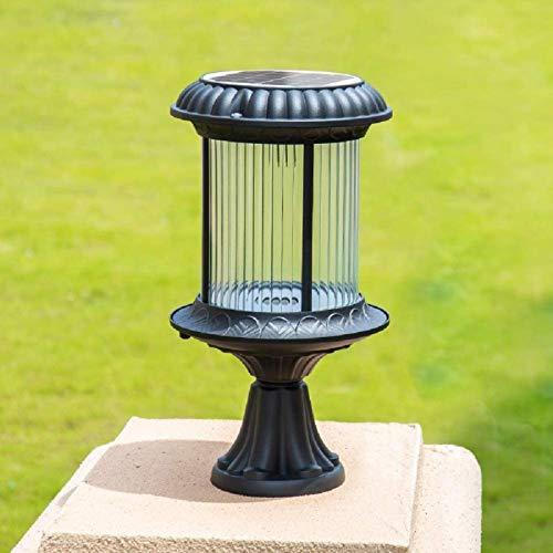 ERGDFH Vintage Outdoor Garden LED Solar Column Lamp Glass Lantern IP55 Waterproof Outside Lawn Post Bollard Light Aluminum External Villa Courtyard