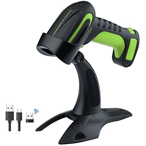 Tera Lector de código de Barras QR de Calidad Industrial 2D Inalámbrico 1D Escáner de Mano 2.4G Inalámbrico + Bluetooth Excelente Resistencia a caídas (3 m) con Soporte súper Estable, 8100-GN