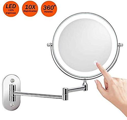 Générique Miroir de courtoisie Écran Tactile LED Mural 10 Fois Miroir de Maquillage dimmable Miroir grossissant Miroir grossissant Miroir grossissant Pivotante à 360 °