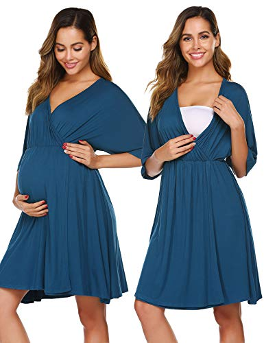Ekouaer 3 in 1 Delivery/Labor/Nursing Nightgown Women's Maternity Hospital Gown for Delivery Breastfeeding Peacock Blue