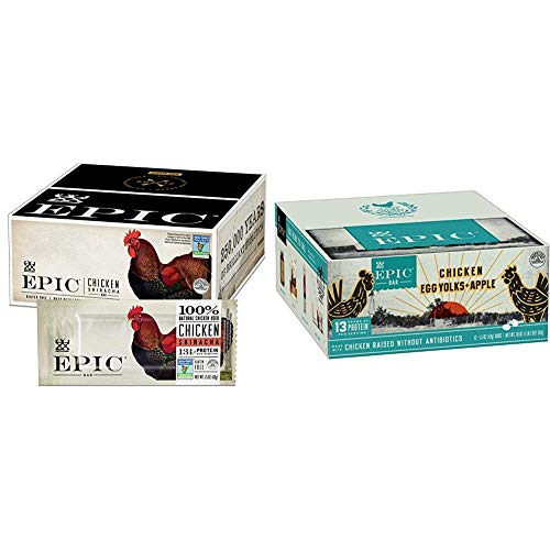 EPIC Chicken Sriracha Protein Bars, Whole 30, Keto Friendly, 12Ct Box 1.5oz bars & Chicken + Egg Yolk + Apple Protein Bars, Whole30, 12 Count Box 1.5oz bars