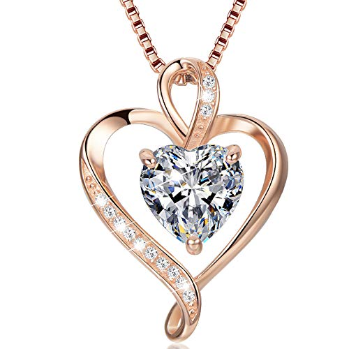 Heart Necklace for Women 925 Sterling Silver Rose Gold Love Pendant Womans Necklaces 5A Cubic Zirconia Gifts for Wife Mum Friend Birthday Anniversary Day (Rose Gold, 50.00)
