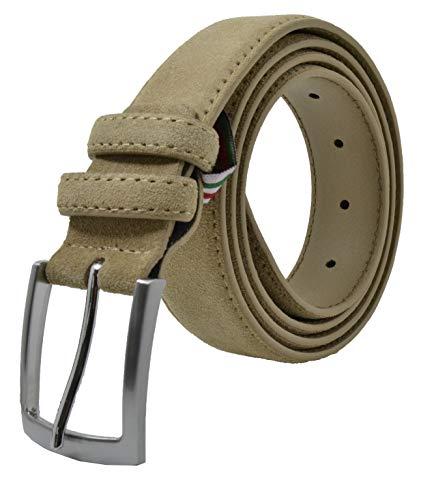 GreSel Damen und Herren Wildleder Gürtel, Echtes Leder, Made in Italy, Kürzbar Beige 120 (Größe 52-54)
