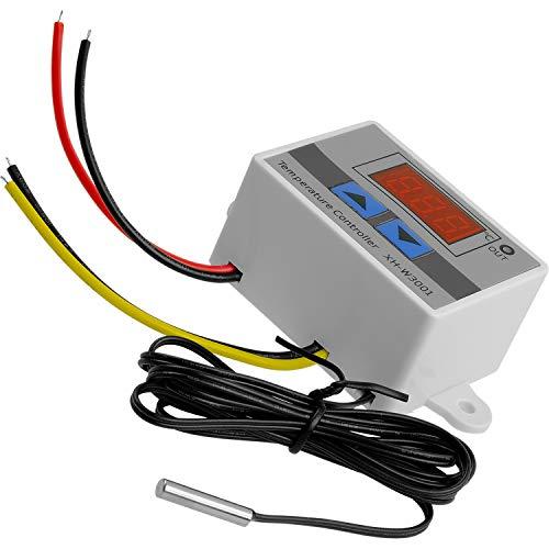 AZDelivery XH-W3001 Termostato Modulo Regolatore di Temperatura LED Digitale, Mini Termostato Interruttore Sensore Impermeabile con Sonda NTC DC 12V 120W 10A incluso un E-Book!