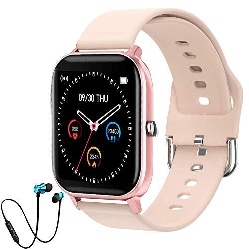 Smartwatch, Vollbild-Touch Fitness Armbanduhr mit Pulsuhr Fitness Tracker Wasserdicht Sportuhr Smart Watch mit Schrittzähler, Schlafmonitor, Stoppuhr für Aktivitätstracker Uhr Damen Herren Kinder