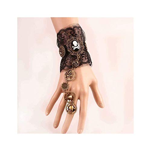 gujiu Pandora bracelet Steampunk Lace Bracelet with Finger Ring Accessory Jewelry for Party