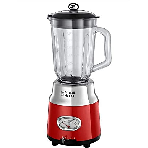 Russell Hobbs 25190-56 Frullatore Retro, Dettagli in acciaio, Bicchiere da 1.5L, 800 Watt, 3 velocità e funzione pulse, Parti lavabili, BPA free, Rosso
