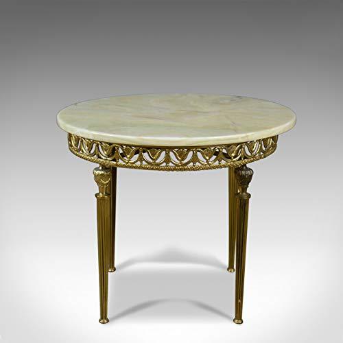 London Fine Antiques Mesa de lámpara italiana, metal dorado, ónix, renacimiento clásico, lateral, finales de C20