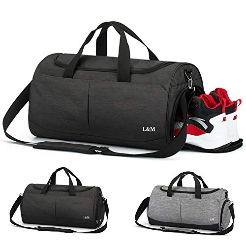 Foldable Travel Duffel Bag, Vlikeze Sports Gym Bag Training Handbag Waterproof Duffle Bag with Shoes Compartment & Wet Pocket Travel Holdall Bag Luggage Bag for Man and Women, Black