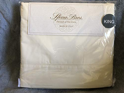 Sale!! Sferra Bros. Ivory King Sheet Set, 100% Long Stple Cotton, Percale