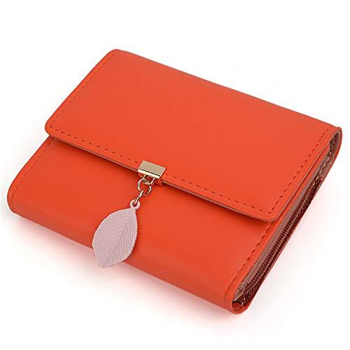 UTO Portafoglio Donna 6 slot per schede 1 Finestra di carta e 1 portamonete con cerniera di Pelle sintetica'Foglie d'autunno' con foglia pendente per Ragazza Arancione