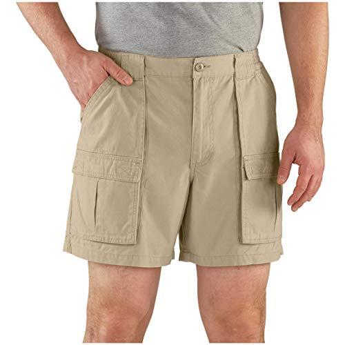 Guide Gear Cargo Shorts for Men Wakota - Casual and Cotton 6 Inch Inseam Shorts, Khaki, 38