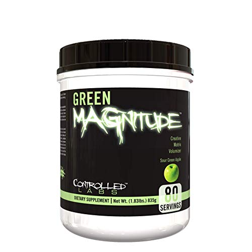 Controlled Labs Green MAGnitude, Synergistic Creatine Formula, Promotes Strength, Stamina, and Performance, Helps Maintain Workout Intensity, 80 Servings, Sour Green Apple