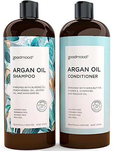 GoodMood Moroccan Argan Oil Shampoo and Conditioner Set - Enriched with Keratin, Volume and Moisture, For Frizzy, Dry And Damaged Hair 2x16oz