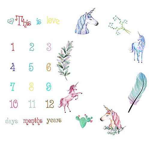 ZUIYIN Baby Monthly Milestone Blanket,Unicorn Baby Months Blanket for Baby Boy Gril