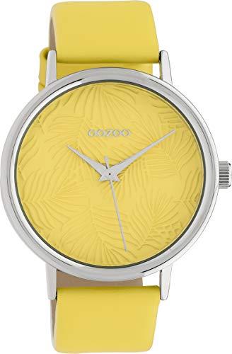 Oozoo Damenuhr mit Lederband 42 MM Colours of Summer Palmen Zifferblatt Unicolor Gelb C10169