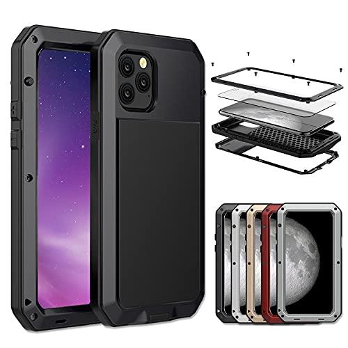 Carcasa resistente para iPhone 5C, 5S, 6S, 7, 8 Plus, X, XR, XS 11, Mini Pro Max, resistente a los golpes, carcasa de metal con película de cristal templado, 360 de cuerpo completo (iPhone XR, blanco)