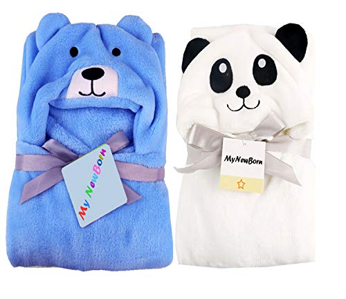 MY NEWBORN Soft Baby Blanket Wrappers Cum Bath Robe -Set of 2 Pcs