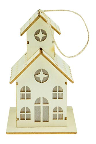 Clever Creations Wooden Light Up School House Christmas Tree Ornament |Battery Included | Festive Holiday Décor | Lightweight Shatter Resistant | Strings Included | 3' x 4.75' x 3.25'