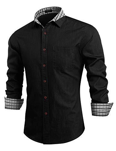 COOFANDY Men Casual Dress Shirt Button Down Shirts Long-Sleeve Denim Work Shirt