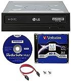 LG WH16NS60 - Unidad de disco Blu-ray BDXL (16 x interna con reproducción Ultra HD 4K) con 25 GB de disco M-Disc BD-R, Cyberlink y cable