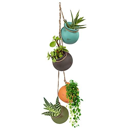 Porta Vasi da Appendere (4 Pezzi) - Porta Piante da Appendere in Ceramica Multicolore - Fioriera da Appendere per Montaggio a Parete o Soffitto con Corda di Iuta - Perfetti per Interni ed Esterni