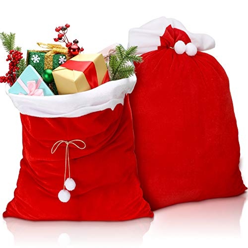 2 Pieces Christmas Red Velvet Santa Claus Bags with Drawstring Cord, Extra Large Velvet Santa's Present Sack Bags for Xmas Present Toys, Storage Bags Holiday Party Supply, 19.7 x 27.6 Inches