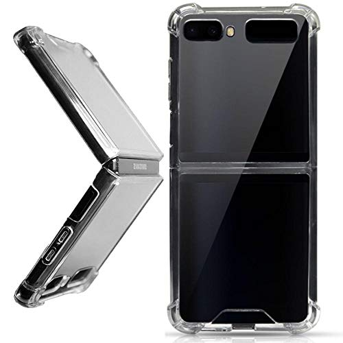 Miimall Kompatibel mit Samsung Galaxy Z Flip/Z Flip 5G Hülle, [Stoßabsorbierend] Transparent Flexibler TPU Handyhülle Stoßfest Kratzfest Schutzhülle für Samsung Galaxy Z Flip/Z Flip 5G