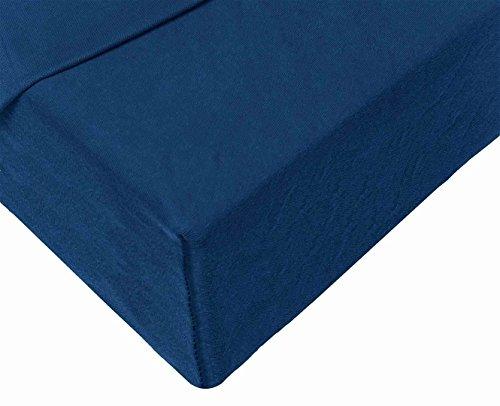 Double Jersey – Spannbettlaken 100% Baumwolle Jersey-Stretch bettlaken, Ultra Weich und Bügelfrei mit bis zu 30cm Stehghöhe, 160x200x30 Marineblau - 4