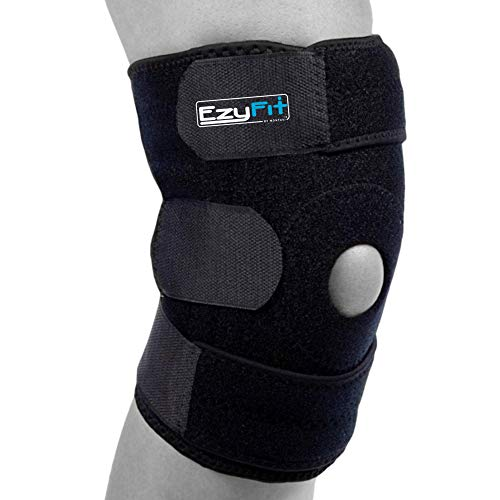 "EzyFit Knee Brace Support Dual Stabilizers & Open Patella - Adjustable Breathable Neoprene for ACL Meniscus Tear Injury Recovery Comfort Fit-Black/Blue,Extra Large - 16"" - 24"""