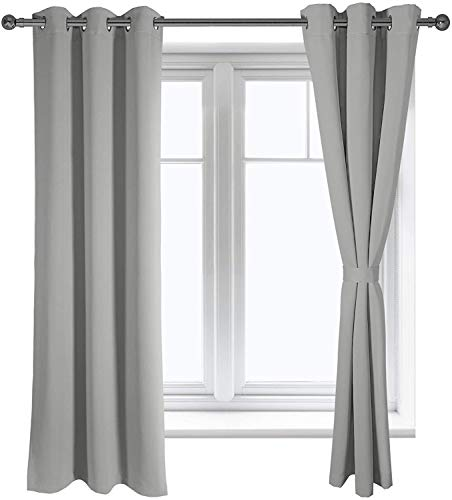 Blackout Curtains Grey, Bedroom and Living Room Curtain, Grommet Room Darkening Thermal Insulated Window Curtain Panels, Noise Reducing and Light Blocking Drapes, 42 X 63 Inch, Set of 2 Panels