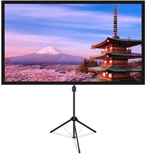 改良新版 4K対応 プロジェクタースクリーン 自立式 携帯型 三脚式 屋内屋外兼用 最大90型 16:9 視野角160° 防しわ加工 お手入れ簡単 (価格は品質に等しいます)