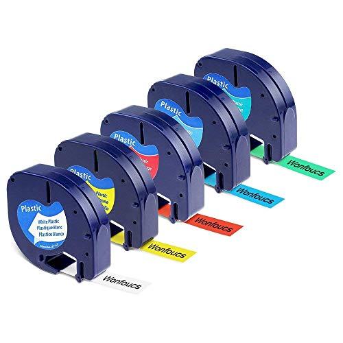 Wonfoucs – Cintas de Etiquetas Compatible para usar en lugar de Dymo LetraTag 91201-91205 para LT-100H LT-100T LT-110T QX 50 XR XM,12mmx 4m(Negro sobre Blanco/Rojo/Amarillo/Azul/Verde, Plástico)