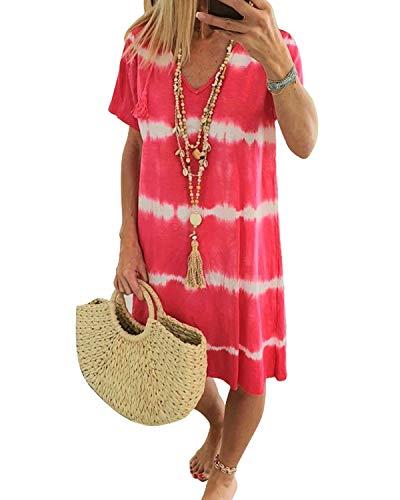 ZANZEA Vestidos Mujer Verano Corto Tallas Grandes Vestidos Playa Cuello Redondo Manga Corta Color Sólido Casual
