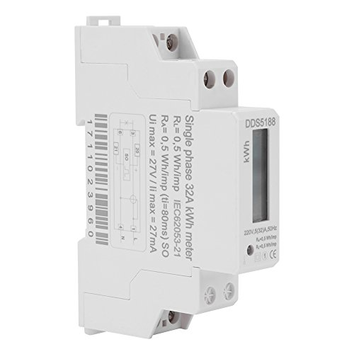 Digitaler Stromzähler, 220V Einphasen-DIN-Schienenstromzähler, mit LCD-Anzeige Wechselstromzähler, 5-32A Elektronischer KWh-Zähler