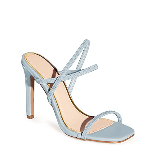 Ermonn High Heels Mules for Women Slip On Square Open Toe Crisscross Elastic Strap Fashion Sandals Sky Blue