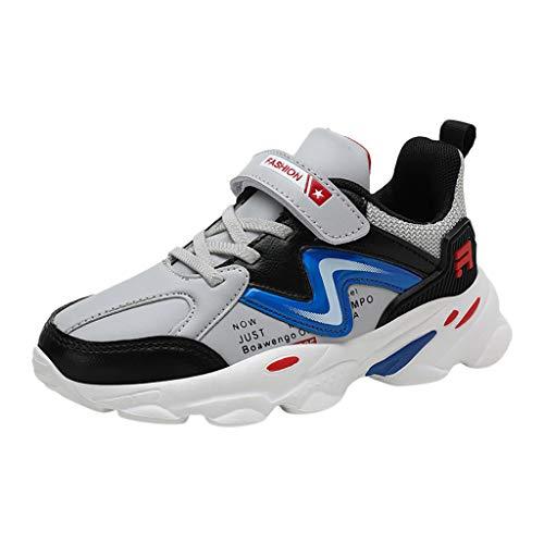 HDUFGJ Kinder Turnschuhe Jungen Sneaker Mädchen Sportschuhe Mesh Atmungsaktiv Klettverschluss Laufschuhe Kleinkind Schuhe Tuch Set Füße Freizeitschuhe28 EU(Grau)