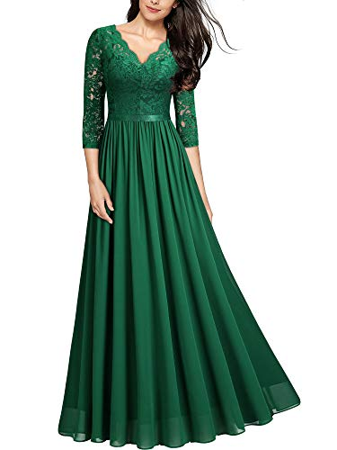 MIUSOL Abendkleider Damen Elegant Vintage Hochzeit Spitze Chiffon Faltenrock Prom Langes Kleid Grün L