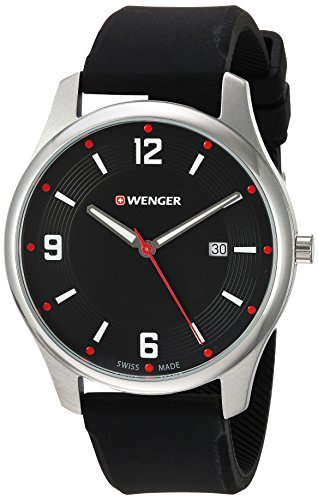Wenger Men's 'City Active' Swiss Quartz Stainless Steel and Silicone Casual Watch, Color:Black (Model: 01.1441.109)
