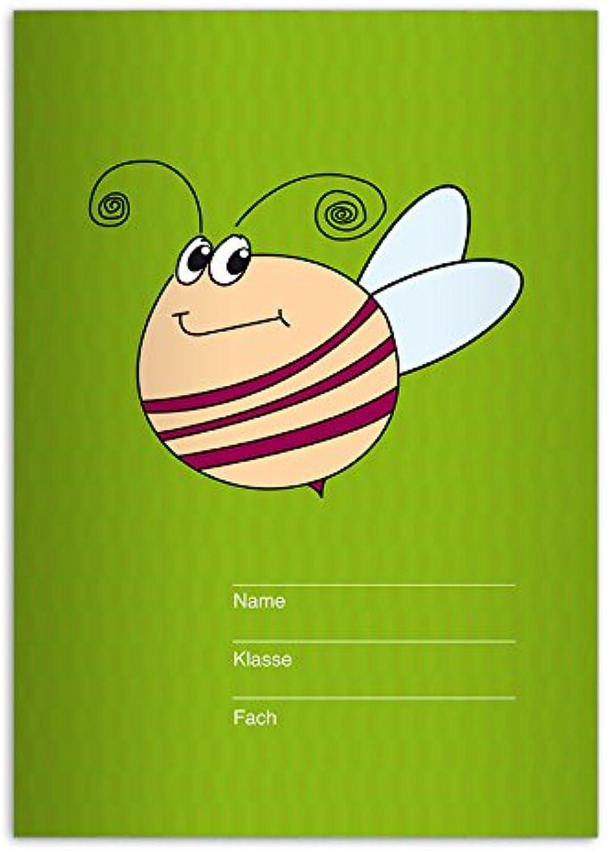 Kartenkaufrausch 16 lustige DIN A5 Schulhefte, Schreibhefte mit großer, fleißiger fleißiger fleißiger Biene, grün Lineatur 6 (blanko Heft) B011J8NML0    | Nutzen Sie Materialien voll aus  318b9f