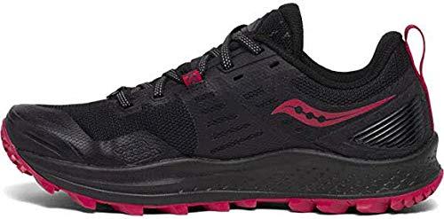 Saucony Women's PEREGRINE 10 Walking Shoe, Black | Barberry, 8 M US