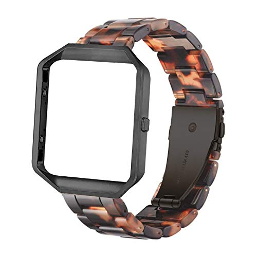 Ayeger Resin Band Compatible with Fitbit Blaze,Women Men Metal Frame Housing+ Resin Accessory Band Wristband Strap Blacelet for Fitbit Blaze Smart Watch Fitness
